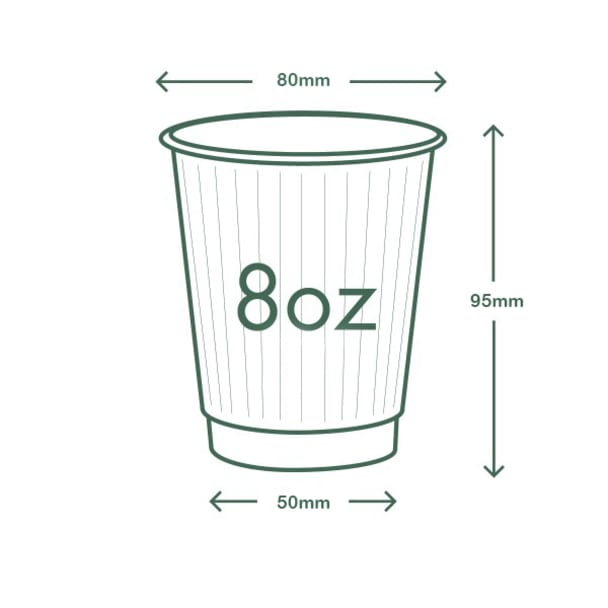 8oz (250ml) White Double Wall coffee cup - 79 series
