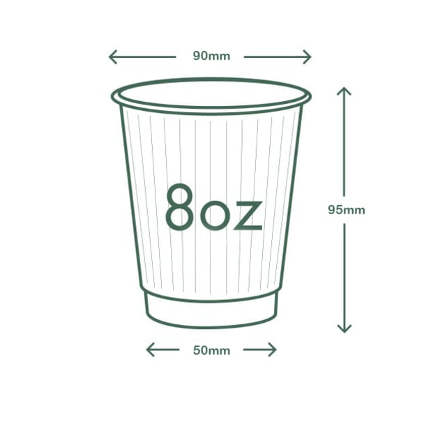 8oz (250ml) White Double Wall coffee cup - 89 series