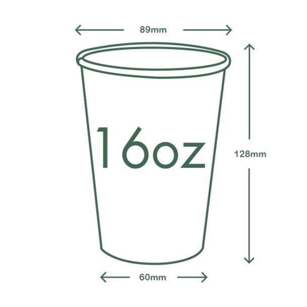16oz (500ml) Kraft Single Wall coffee cup - 89 series