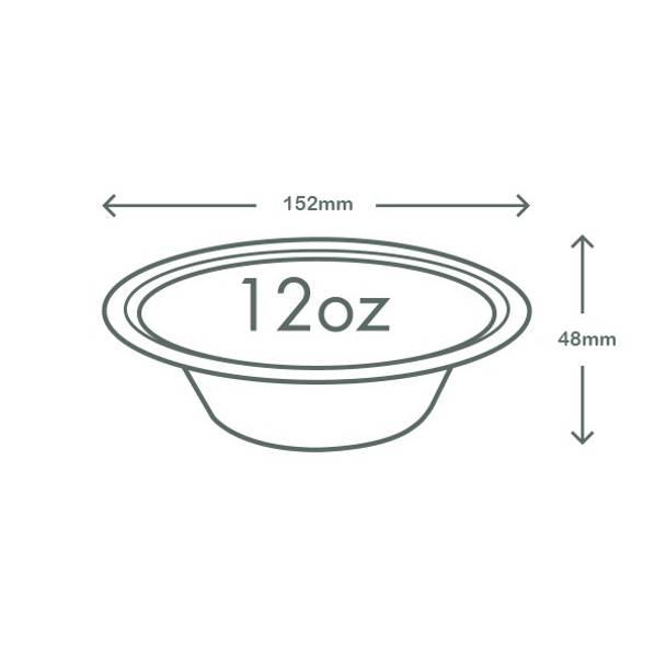 12oz (360ml) Tall Bagasse Bowl - White