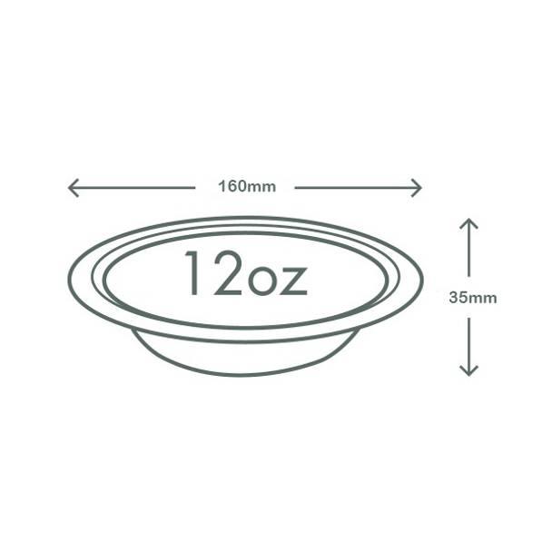 12oz (360ml) Wide Bagasse Bowl - White