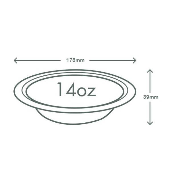14oz (410ml) Wide Bagasse Bowl - White
