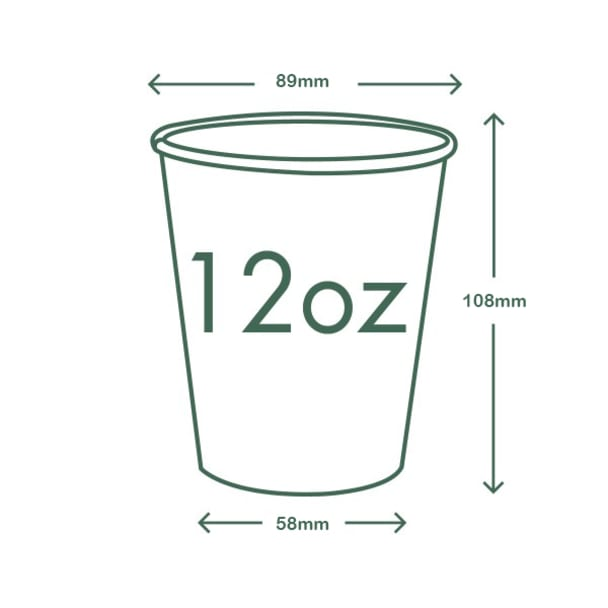 12oz (360ml) White Single Wall coffee cup - 89 series
