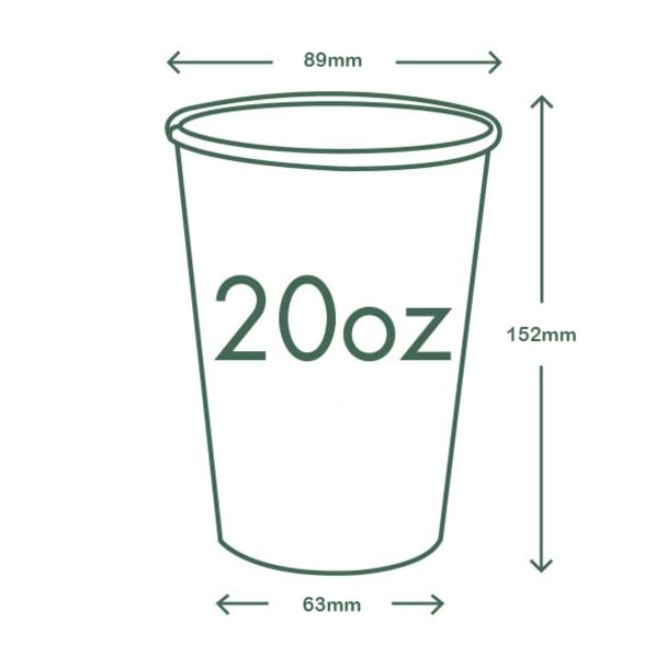 20oz (600ml) White Single Wall coffee cup - 89 series