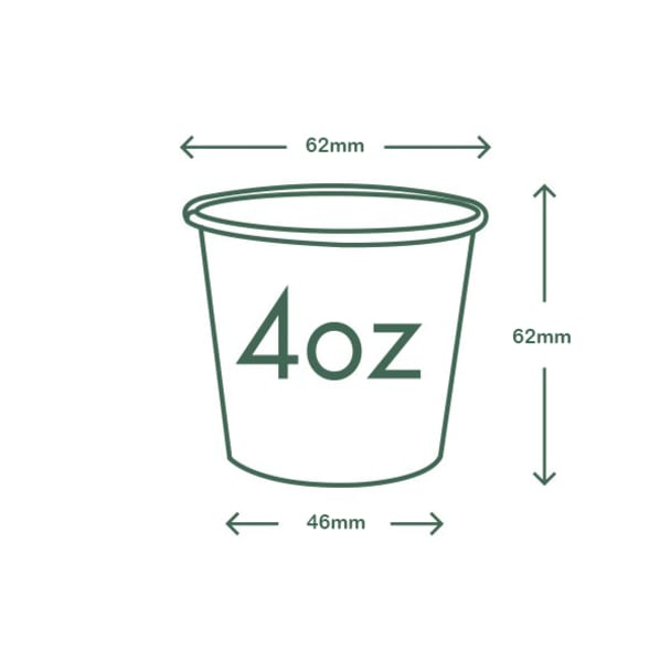 4oz (120ml) White Single Wall coffee cup - 62 series