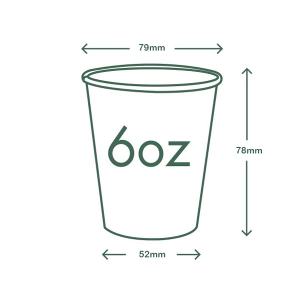 6oz (180ml) White Single Wall coffee cup - 79 series