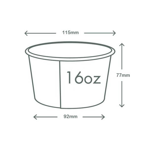 16oz (500ml) Paper Bowl - Kraft - 115 Series