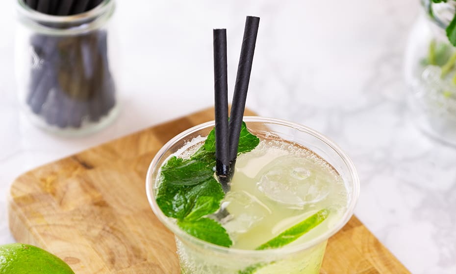 Cocktail black paper straws 6 x 140mm