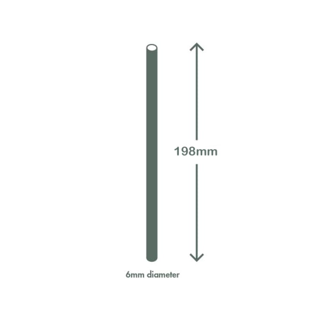 Highball black paper straws 6 x 200mm