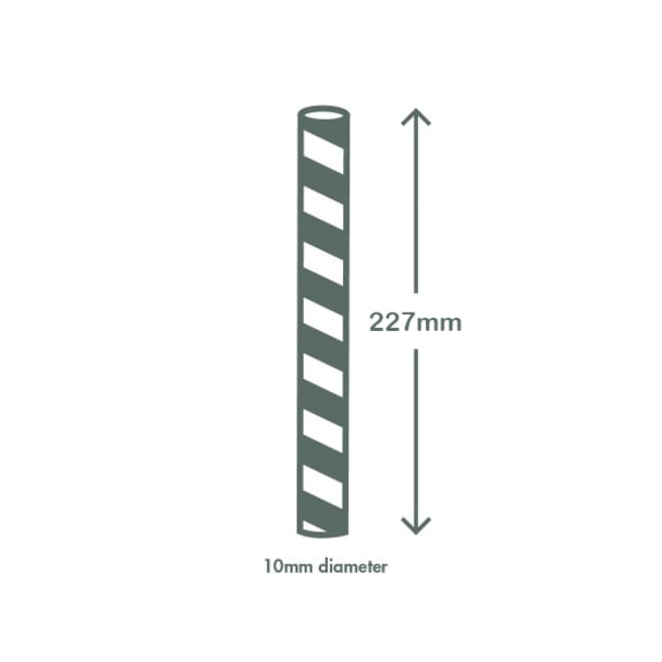Jumbissimo long green swirl paper straws 10 x 230mm