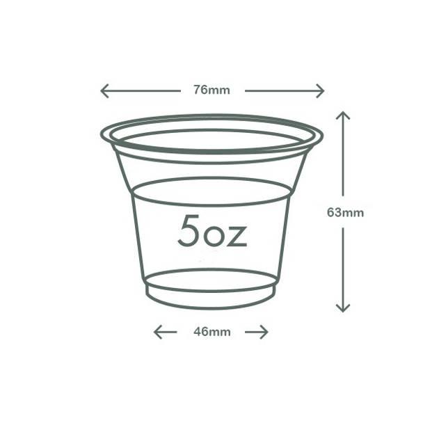 5oz (150ml) slim PLA cold cup - clear/plain - 76 series