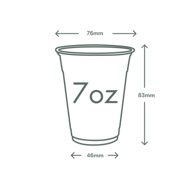 7oz (200ml) slim PLA cold cup - clear/plain - 76 series