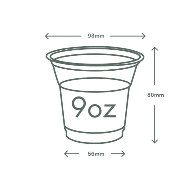 9oz (280ml) standard PLA cold cup - clear/plain - 96 series