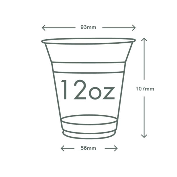 12oz (360ml) standard PLA cold cup - clear/plain - 96 series