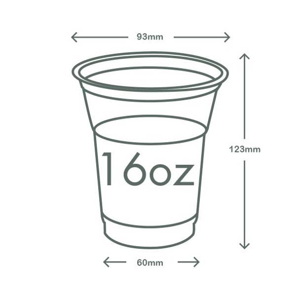 16oz (500ml) standard PLA cold cup - clear/plain - 96 series