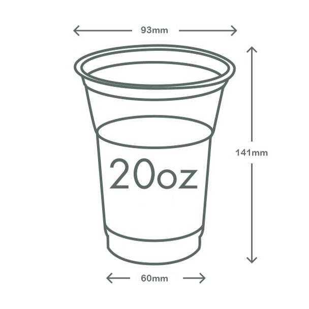 20oz (600ml) standard PLA cold cup - clear/plain - 96 series