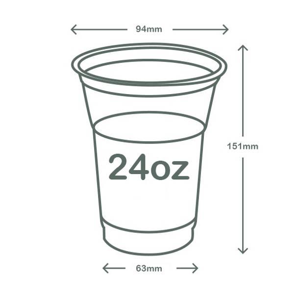 24oz (700ml) standard PLA cold cup - clear/green leaf - 96 series