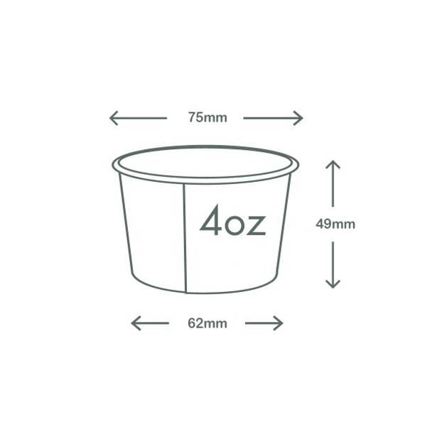 4oz (120ml) Gelato Paper Bowl - White