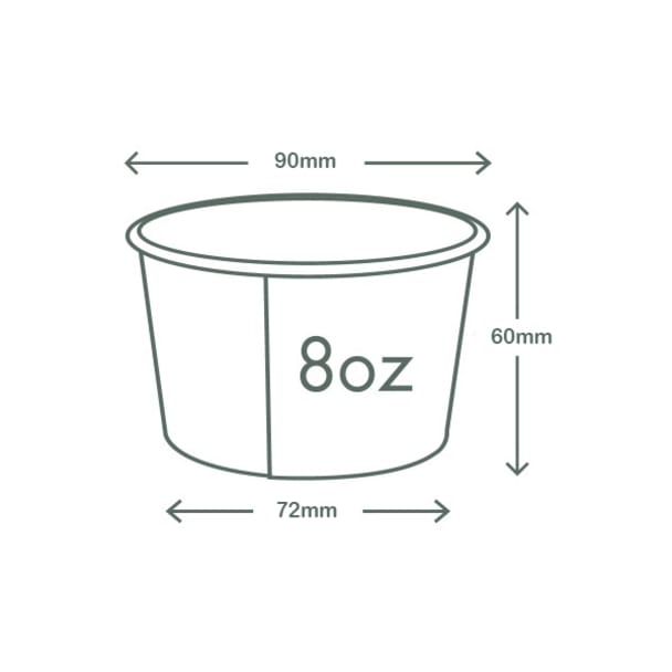 8oz (250ml) Paper Bowl - White - 90 Series