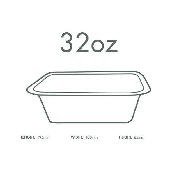 32oz (1000ml) White Bagasse Base - V4 Range