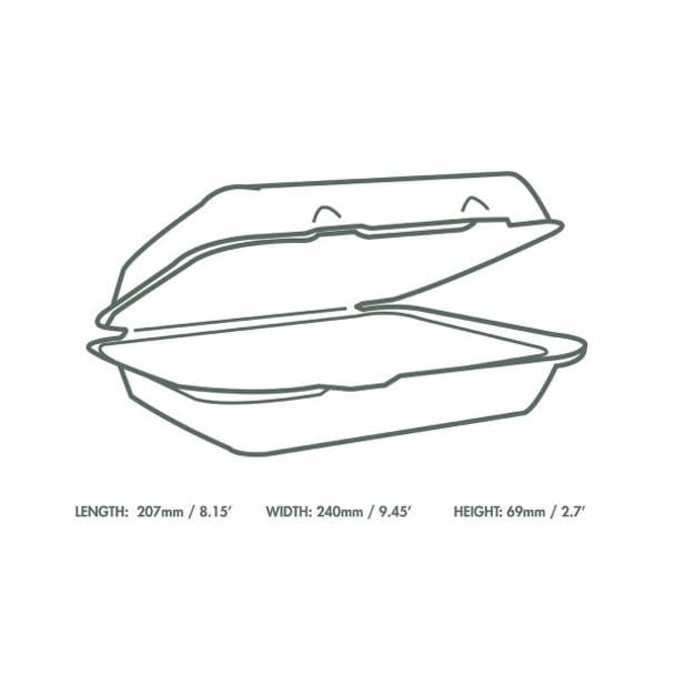 9 x 8 inch Bagasse Clamshell - White