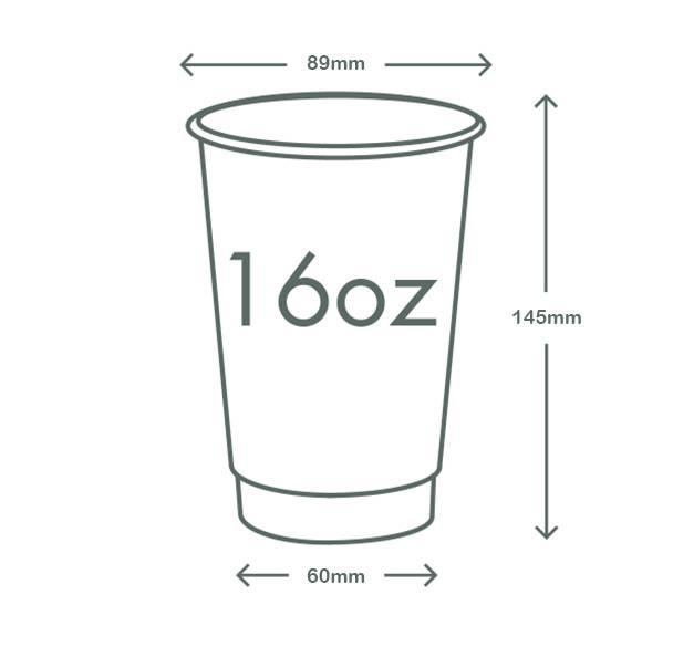 16oz (500ml) Kraft Premium Double Wall Coffee Cup - 89 series