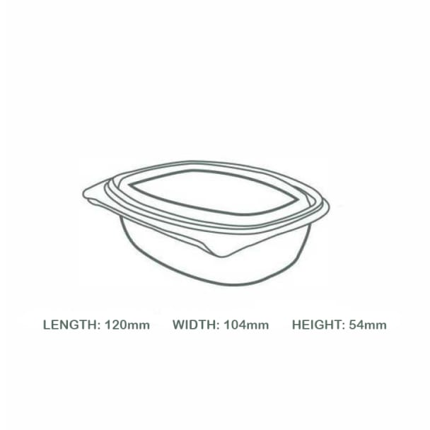 8oz (250ml) Rectangular hinged container - clear