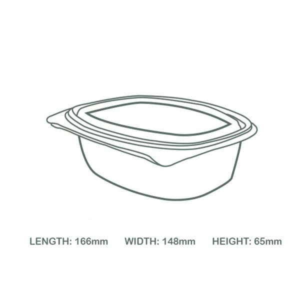 24oz (750ml) Rectangular hinged container - clear