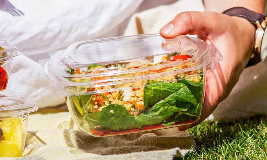 32oz (1000ml) Rectangular hinged container - clear