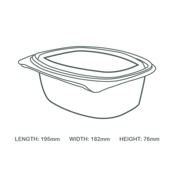 48oz (1500ml) Rectangular hinged container - clear