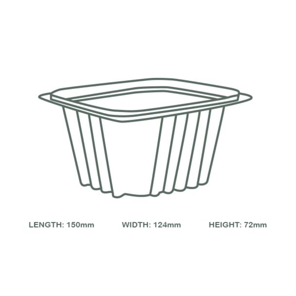 16oz (500ml) Rectangular container - clear