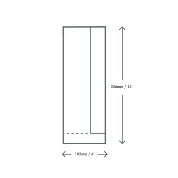 Paper Bag with PLA Side Window - 10.1 x 15.2 x 35.5cm - Kraft