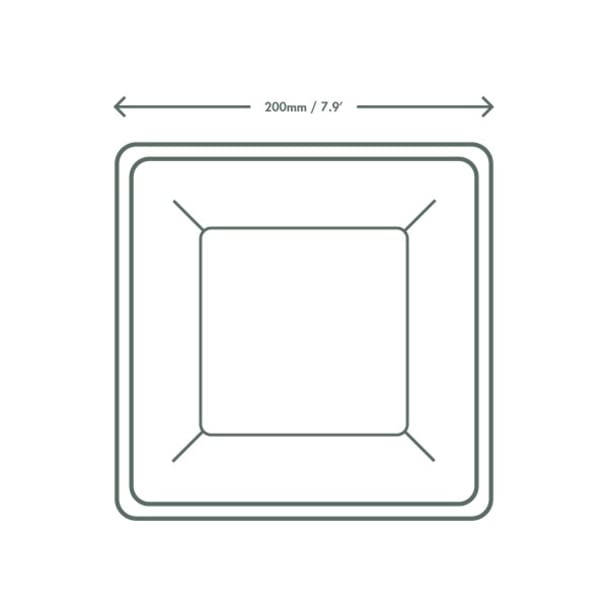 8 inch Square Bagasse Plate - White
