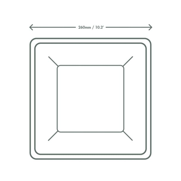 10 inch Square Bagasse Plate - White