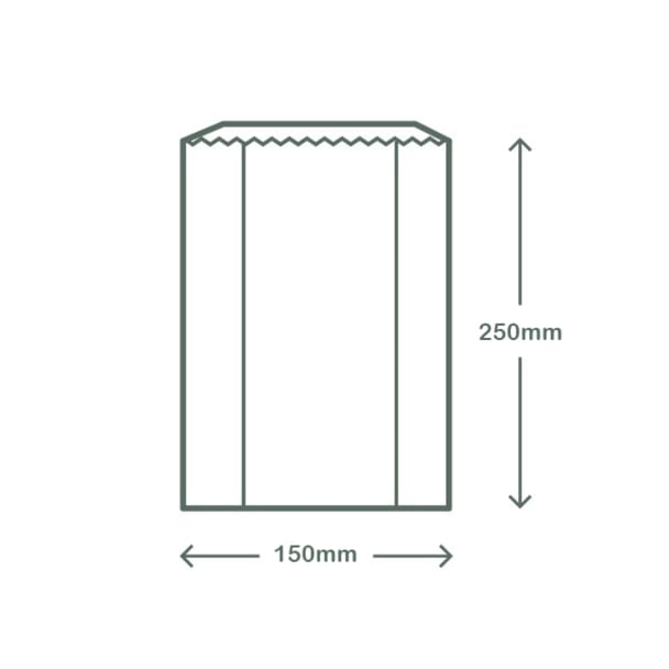 Glassine Hot Bag with NatureFlex Window - 15 x 6.3 x 25.4cm - White