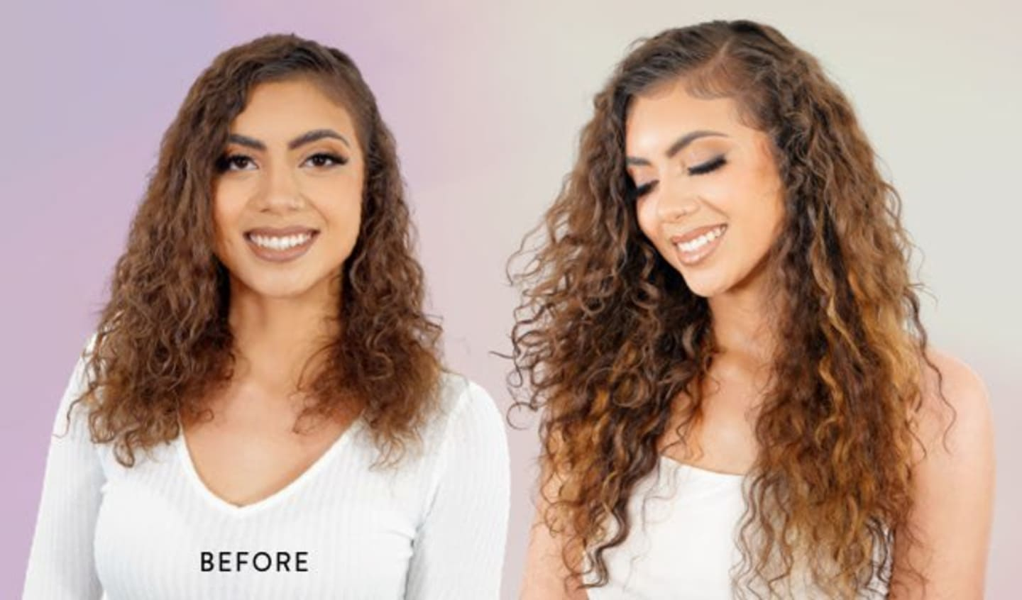curly hair extensions before and after