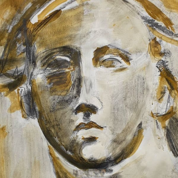 sketch of a face in grey and umber