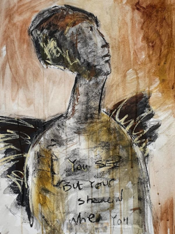 sketch of a figure with wings in greys and browns