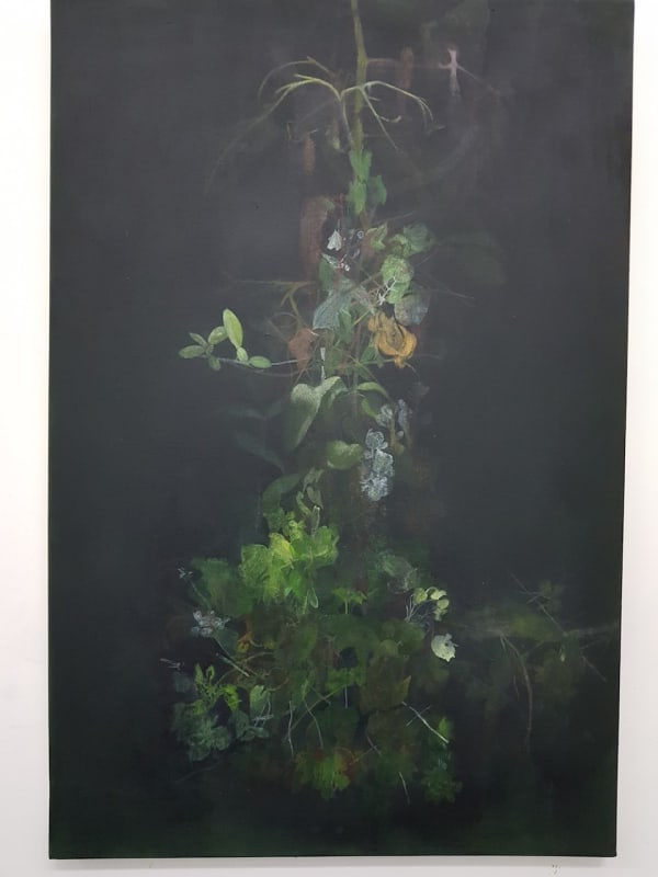 dark painting with foliage