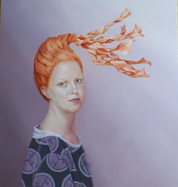 painting of woman with long twisted orange hair