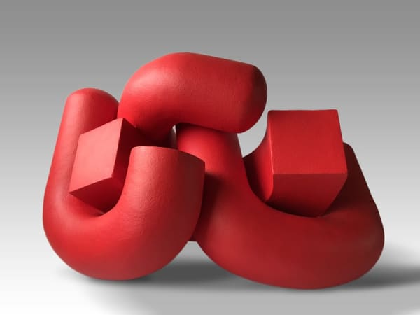 red ceramic sculpture