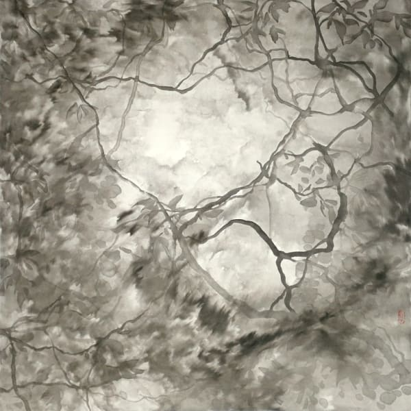 greyscale drawing of foliage