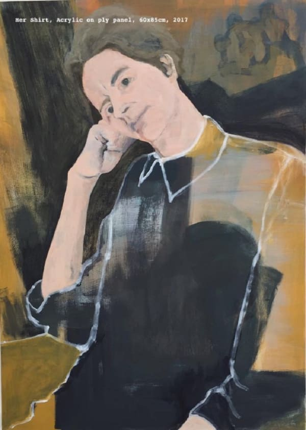 portrait painting in yellows and blacks