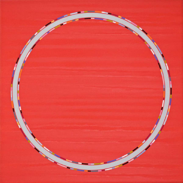 painting of circle on red background