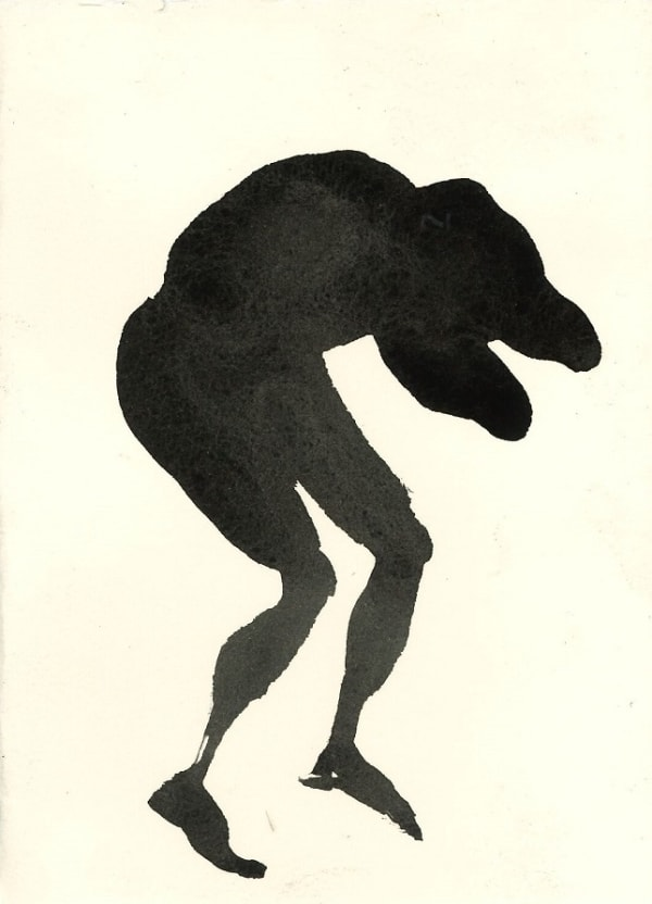 black ink drawing of hunched figure