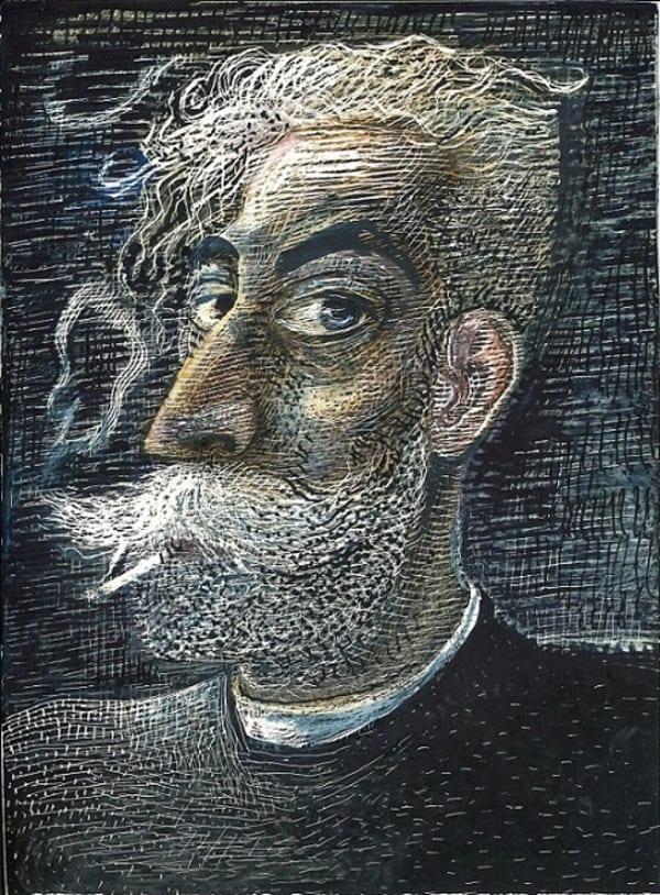 drawing of a man with white moustache and beard smoking