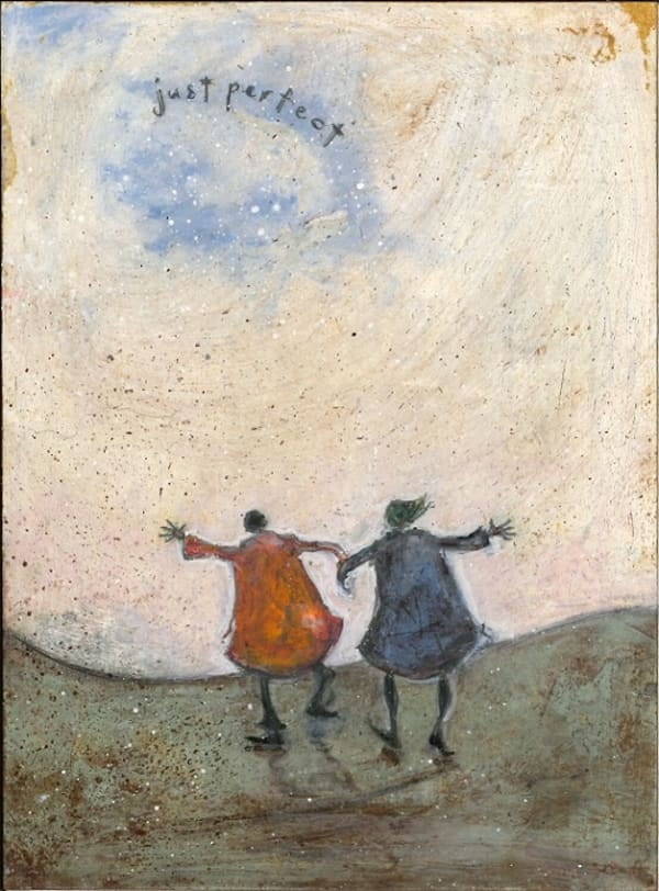 painting of the backs of two people holding hands