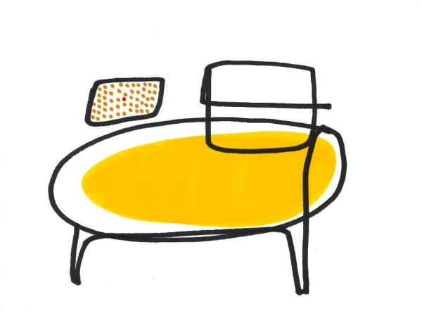 line drawing of yellow chair