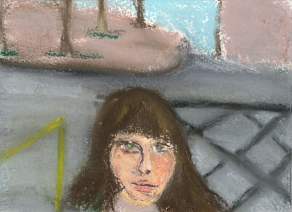 pastel drawing of a woman's face