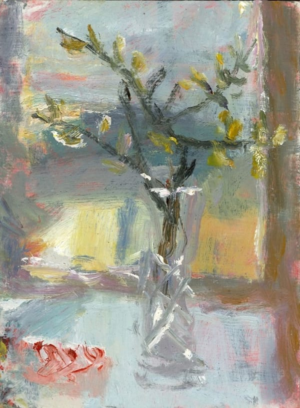 still life painting on table in front of window